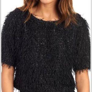 Gracia feather fringe glitter knit crop top
